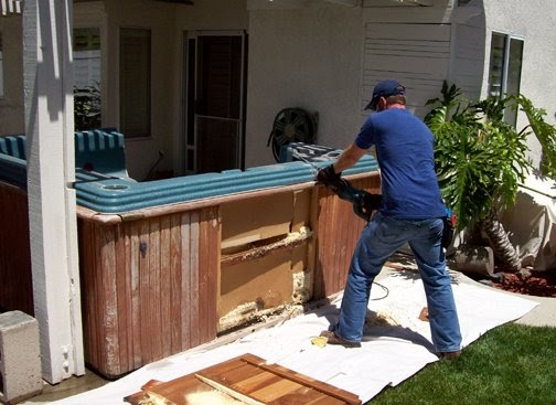 cutting up a hot tub