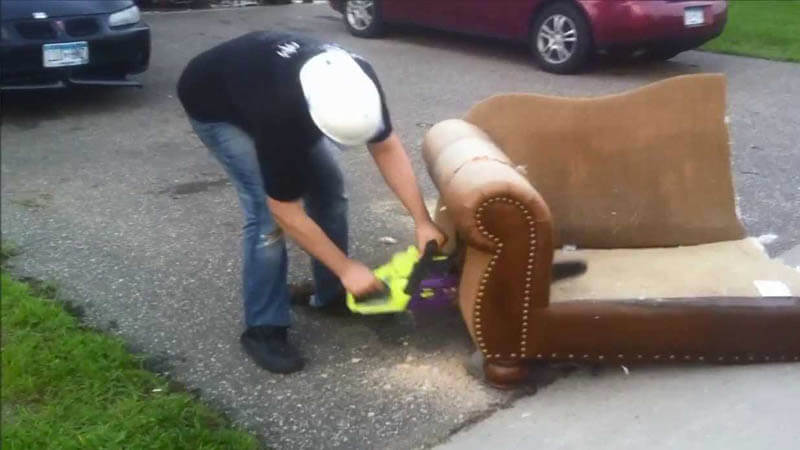 cutting up couch
