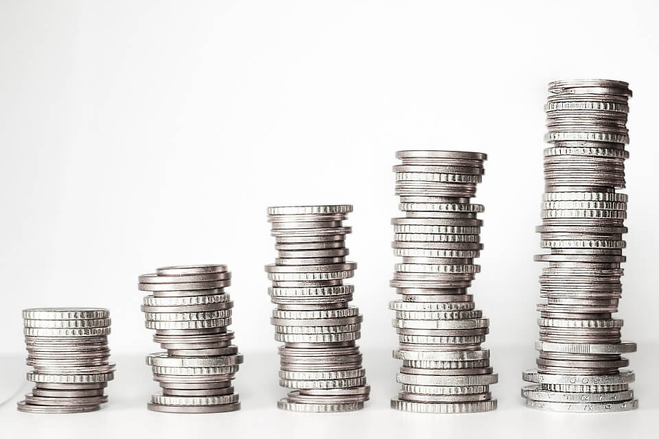silver stack of coins