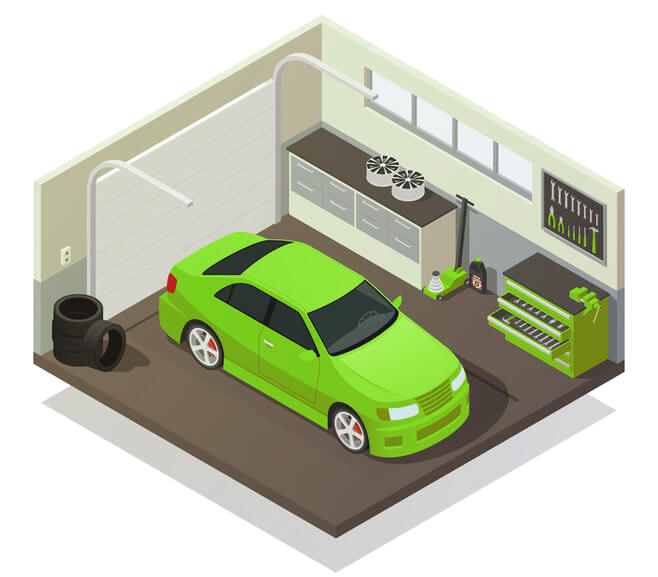 nice garage with car