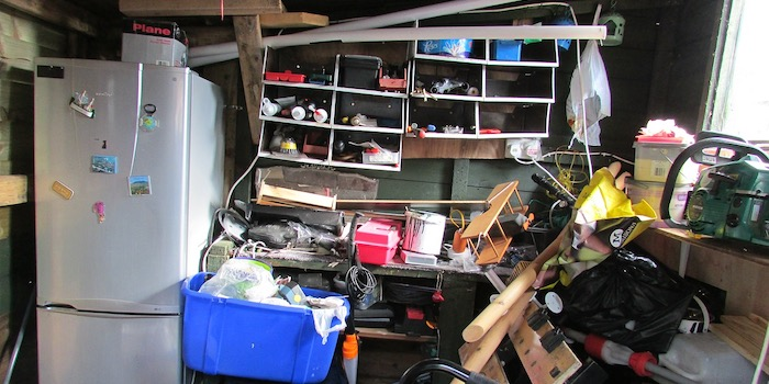 make piles in the garage