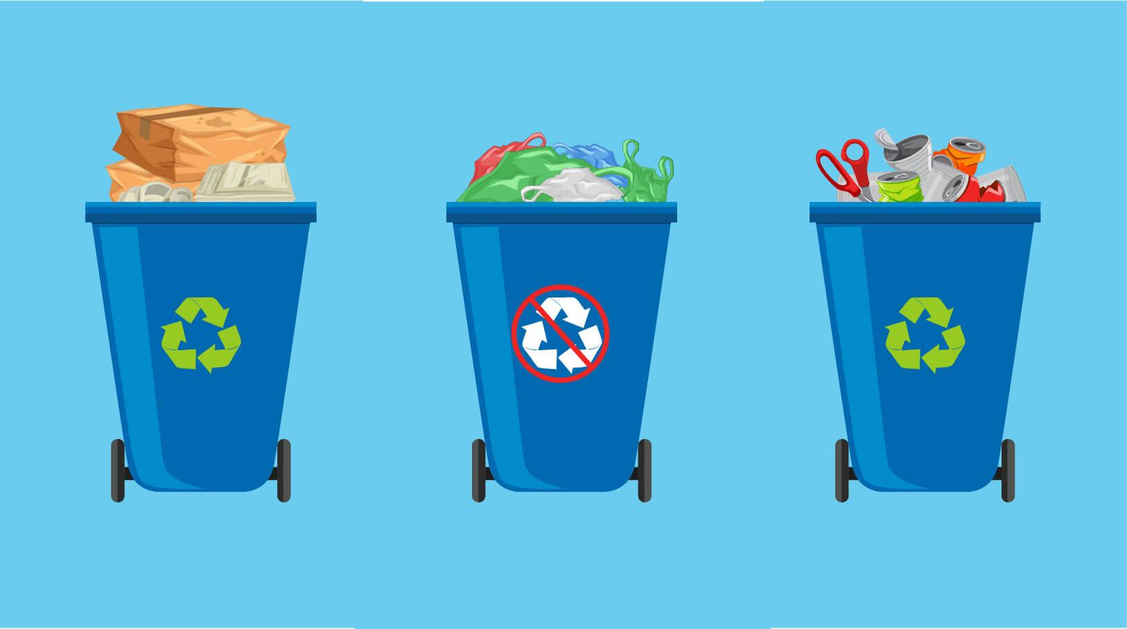 Trush bins illustration