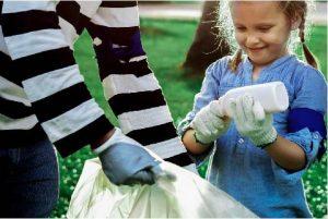 teaching kid to handle trash